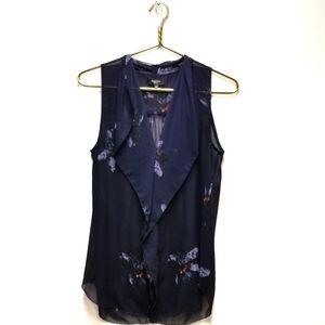Babaton | Aritzia Ainsley Navy Floral Silk Blouse